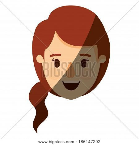 color image shading caricature front view face closeup woman with redhead ponytail side hair vector illustration