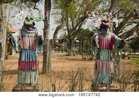 Masks And Costume Phi Kon Nam Or Tradition Of Ghost Carriage Water For People Visit In Ghost Festiva