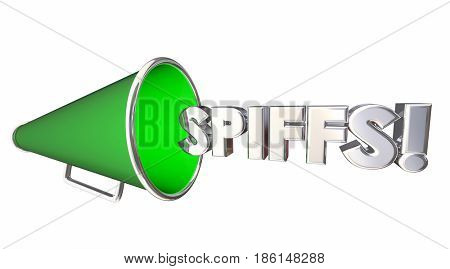 Spiffs Bullhorn Megaphone Incentives Bonus Rewards 3d Illustration
