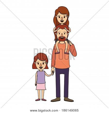 color image caricature dad with daugther on his back and girl taken hands vector illustration