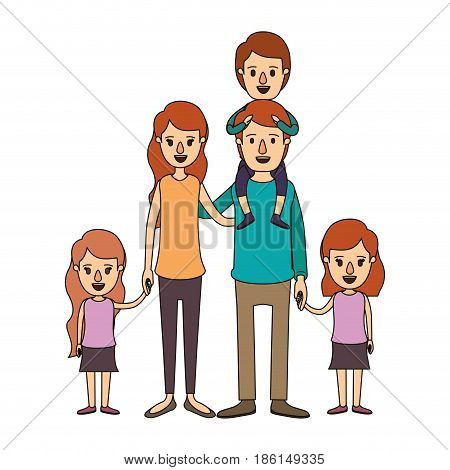color image caricature big family parents with boy on his back and daugthers taken hands vector illustration