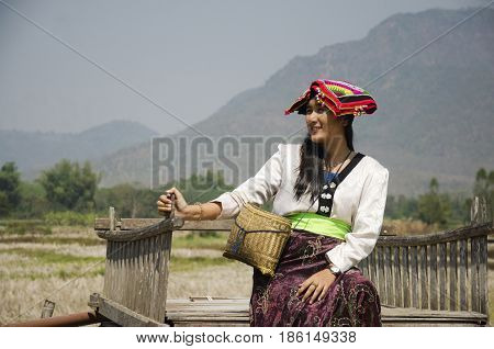 Travelers Thai Woman Wearing Costume Traditional Of Tai Dam Ethnic For Take Photo With Landscape Ric