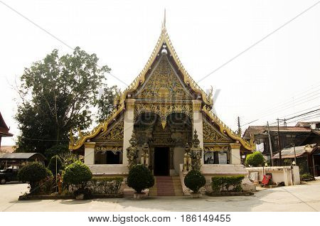 Wat Si Khun Mueang Temple For Thai People Respect And Praying With Travelers People Visit