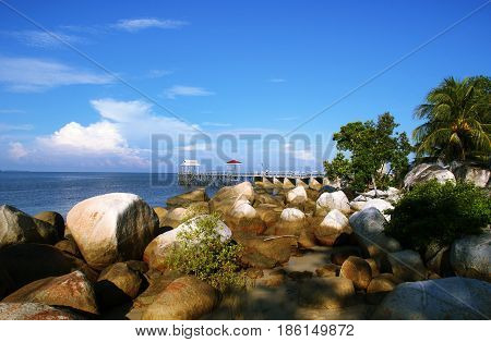 Rock Formation in Temajo Island, West Kalimantan, Indonesia