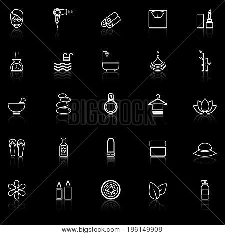 Beauty line icons with reflect on black background, stock vector