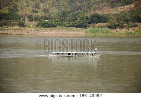 Passenger Boat Bring Travelers People Visit And Travel In Mekong River At Kaeng Khut Khu In Chiang K