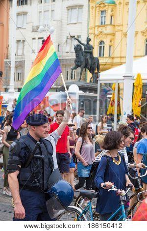 ZAGREB, CROATIA - JUNE 11, 2016: 15th Zagreb pride. LGBTIQ activists on Ban Josip Jelacic square.