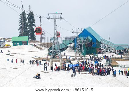 Pahalgam India - April 24 2017 : Tourist visiting Ski resort in Gulmarg Jammu And Kashmir India