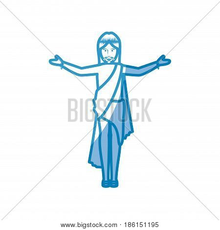 crucified Jesus icon over white background. vector illustration