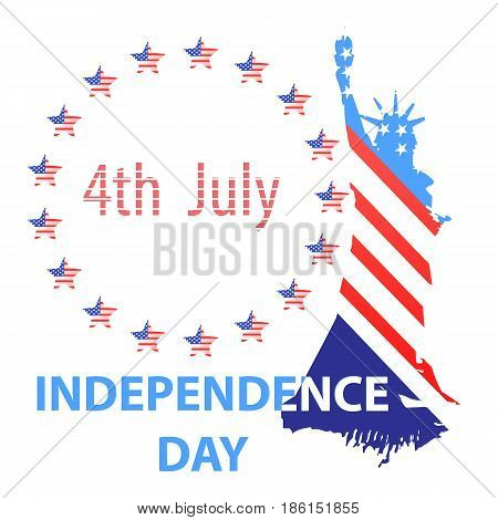SILUETTE OF THE STATUE OF FREEDOM BY THE COLOR OF THE AMERICAN FLAG. ON THE BACKGROUND WHITE IN THE CIRCLE OF STARS. Independence Day United States. Illustration for your design. Fourth of July. The day of the American flag. poster