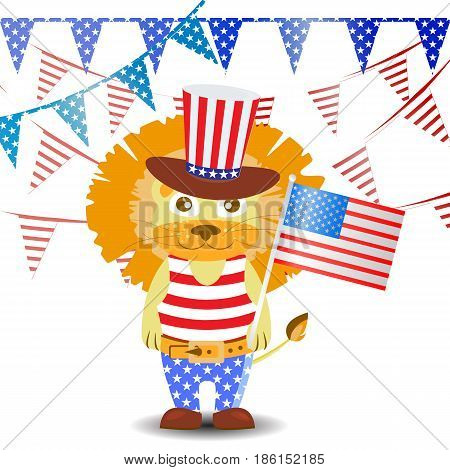 Patriot In A Hat And With A Flag. Fourth Of July.