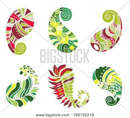 Vector abstract pattern of tattoo henna paisley. Stock mehndi set for design on white background - indian cucumbers.