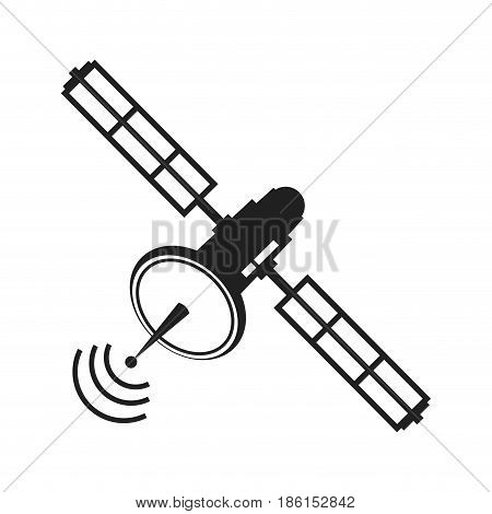 communications satellite signal transmission technology vector illustration