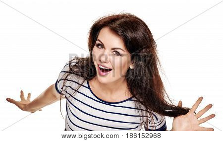 Excited happy successful woman screaming and gesturing with hands