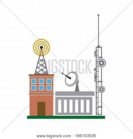 broadcasting building dish antenna tower wireless vector illustration