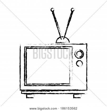vintage tv screen antenna entertainment analogue vector illustration