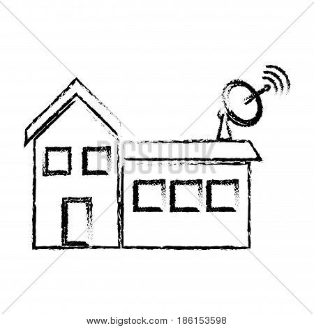 satellite dish and antenna tv on the house roof vector illustration