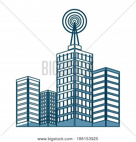antenna on buildings in the city technology transmitter vector illustration
