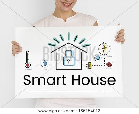 Woman holding illustration of smart house invention automation technology banner