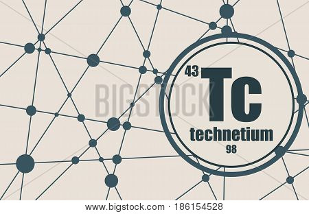 Technecium chemical element. Sign with atomic number and atomic weight. Chemical element of periodic table. Molecule And Communication Background. Connected lines with dots.