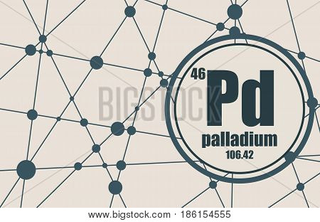 Palladium chemical element. Sign with atomic number and atomic weight. Chemical element of periodic table. Molecule And Communication Background. Connected lines with dots.
