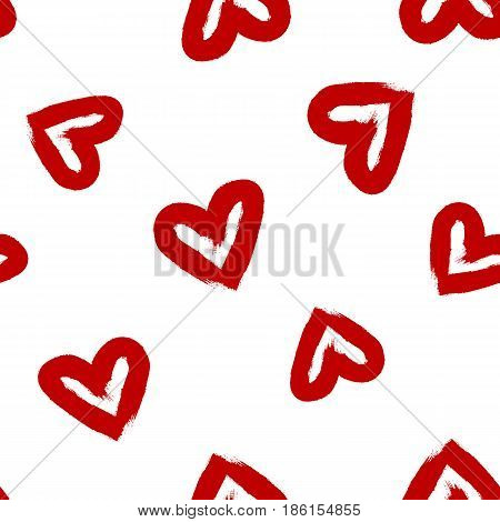 Scattered hearts drawn watercolor brush. Seamless pattern. Grunge sketch graffiti. Vector illustration. Red white color.