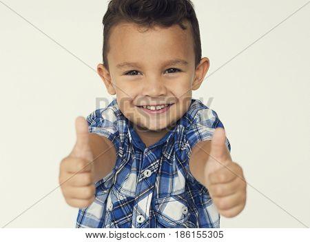 Boy Gesture Thumps up Good Ok Sign