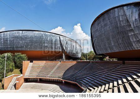 Rome, Italy - March 11, 2017: Auditorium Parco della Musica, designed by Italian architect Renzo Piano