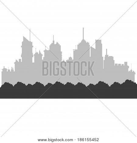 modern city skyline bushes foliage. city silhouette. vector illustration in flat design vector illustration