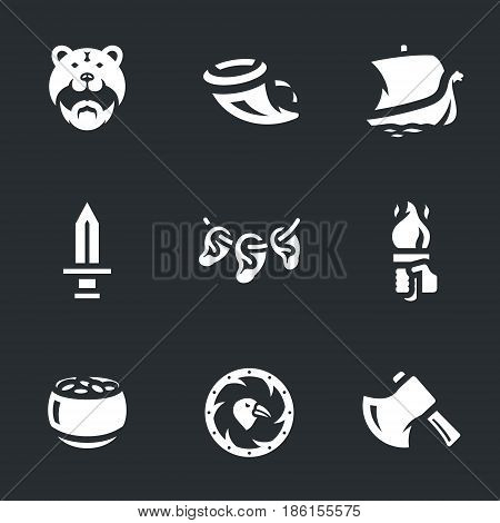 Fighter, horn, drakkar, sword, ears, torch, gold pot, shield, ax.