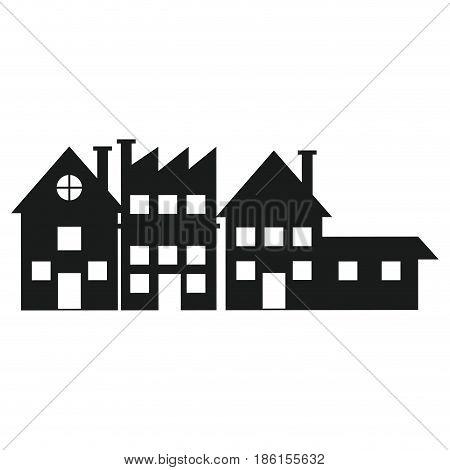 silhouette house building factory facade vector illustration
