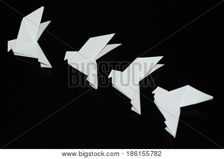 A white dove is isolated on a black background. Paper dove origami.