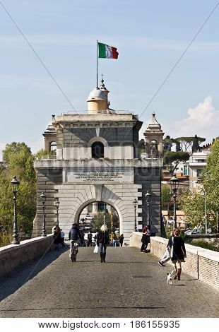 Rome, Italy-12, 2017 : The Tiber river and the Milvio Bridge