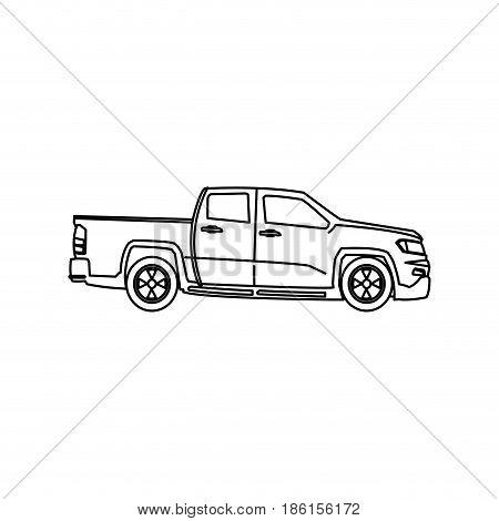 pickup truck vehicle wheel transportation outline vector illustration