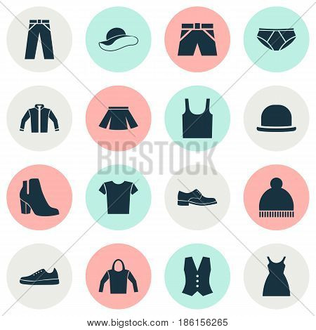 Garment Icons Set. Collection Of Trunks Cloth, Briefs, Sweatshirt And Other Elements. Also Includes Symbols Such As Gumshoes, Skirt, Leggings.