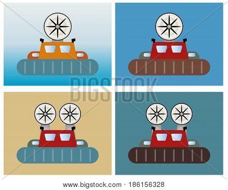 Simple Passenger Hovercraft On Sea Background