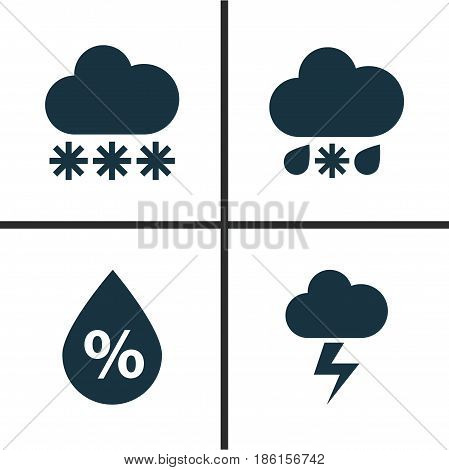 Meteorology Icons Set. Collection Of Moisture, Snowy, Lightning And Other Elements. Also Includes Symbols Such As Snow, Moisture, Flash.