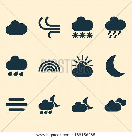 Climate Icons Set. Collection Of Weather, Nightly, Breeze And Other Elements. Also Includes Symbols Such As Clouds, Douche, Cold.
