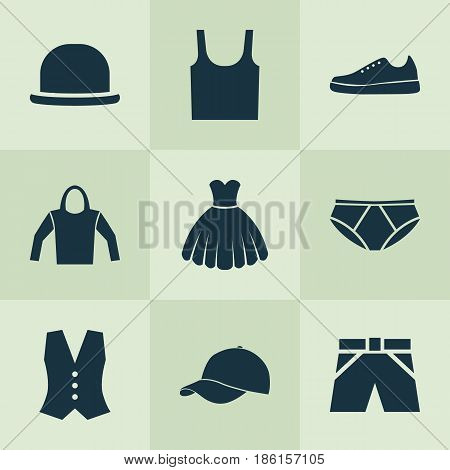 Garment Icons Set. Collection Of Singlet, Trilby, Briefs And Other Elements. Also Includes Symbols Such As Hoodie, Singlet, Briefs.