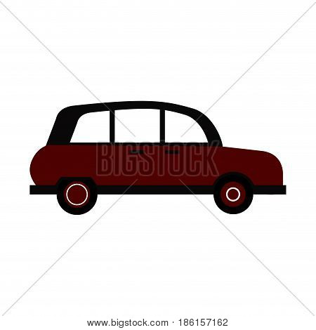 vintage town maroon car icon image vector illustration design