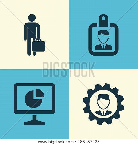 Business Icons Set. Collection Of Id Badge, Work Man, Statistics And Other Elements. Also Includes Symbols Such As Manager, Monitor, Work.