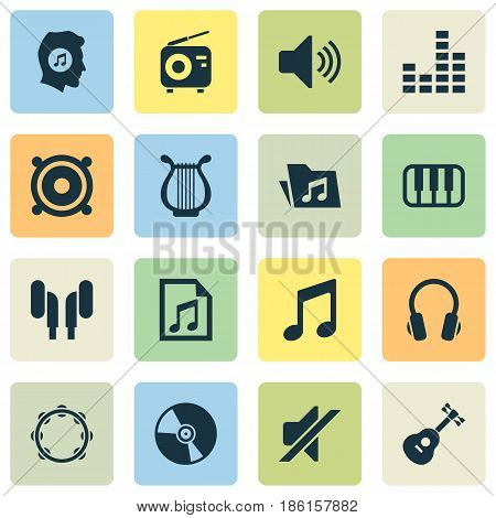 Music Icons Set. Collection Of Equalizer, Silence, Tuner And Other Elements. Also Includes Symbols Such As Keyboard, Speaker, Music.