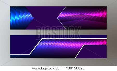 Horizontal Web Banner Background Blue Purple Neon Effect07