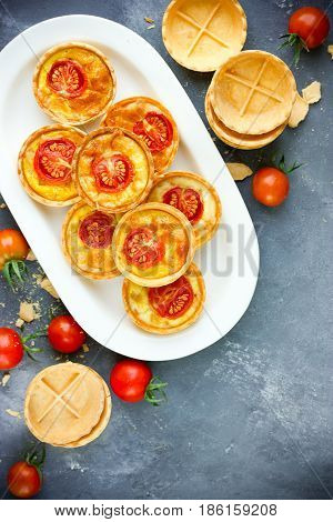 Cheese tomato tartlets puff pastry appetizers mini-pizzas with cheese and cherry tomatoes italian antipasti wine snack