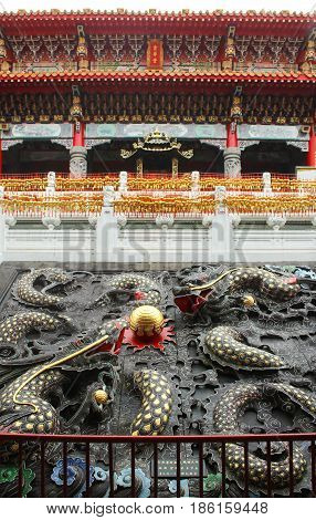 Close up of Dragons architecture in Wenwu Temple located at Sun Moon Lake Taiwan