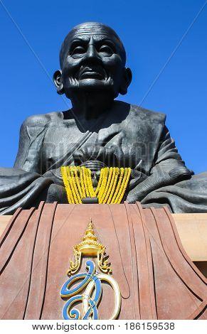 Closeup Luang Phor Tuad Statue at Wat Huai Mongkhon Hua Hin Thailand