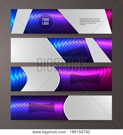 Horizontal Web Banner Background Blue Purple Neon Effect11