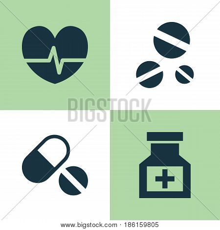 Medicine Icons Set. Collection Of Pills, Cure, Rhythm And Other Elements. Also Includes Symbols Such As Pills, Care, Pellets.