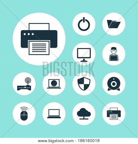 Laptop Icons Set. Collection Of Desktop, Dossier, Printing Machine And Other Elements. Also Includes Symbols Such As Dossier, Desktop, Machine.