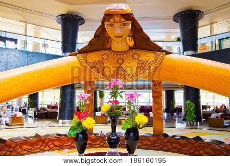 Sharm El Sheikh, Egypt - April 08, 2017: Hotel lobby at the luxury five stars hotel Barcelo Tiran Sharm at Sharm El Sheikh, Egypt on April 08, 2017